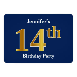 Blue, Faux Gold 14th Birthday Party + Custom Name Card