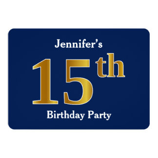 Blue, Faux Gold 15th Birthday Party + Custom Name Card