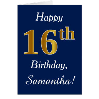 Blue, Faux Gold 16th Birthday + Custom Name Card