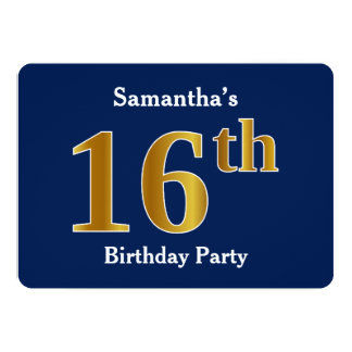 Blue, Faux Gold 16th Birthday Party + Custom Name Card