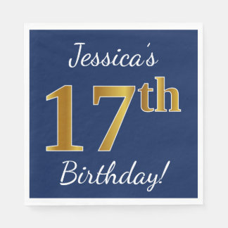 Blue, Faux Gold 17th Birthday + Custom Name Paper Napkin