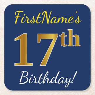 Blue, Faux Gold 17th Birthday + Custom Name Square Paper Coaster
