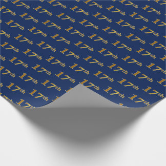 Blue, Faux Gold 17th (Seventeenth) Event Wrapping Paper
