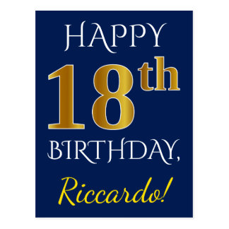Blue, Faux Gold 18th Birthday + Custom Name Postcard