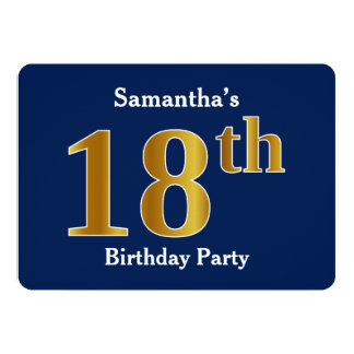 Blue, Faux Gold 18th Birthday Party + Custom Name Card