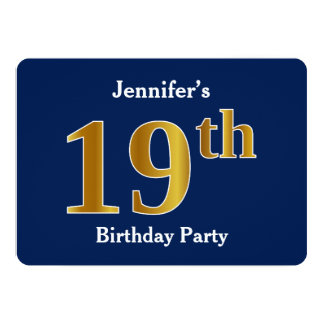 Blue, Faux Gold 19th Birthday Party + Custom Name Card