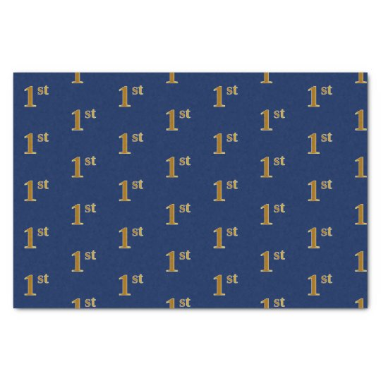 Blue, Faux Gold 1st (First) Event Tissue Paper