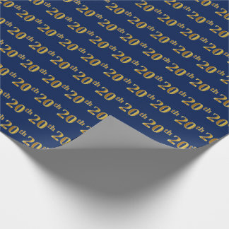 Blue, Faux Gold 20th (Twentieth) Event Wrapping Paper