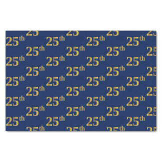 Blue, Faux Gold 25th (Twenty-Fifth) Event Tissue Paper