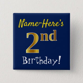 Blue, Faux Gold 2nd Birthday, With Custom Name 15 Cm Square Badge