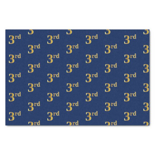 Blue, Faux Gold 3rd (Third) Event Tissue Paper