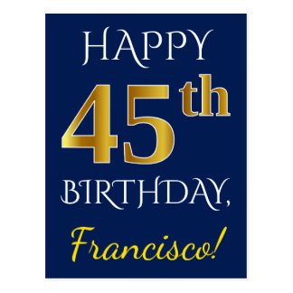 Blue, Faux Gold 45th Birthday + Custom Name Postcard