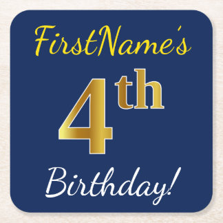 Blue, Faux Gold 4th Birthday + Custom Name Square Paper Coaster