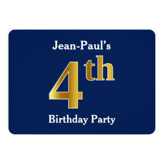 Blue, Faux Gold 4th Birthday Party + Custom Name Card