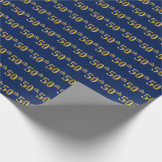 Blue, Faux Gold 50th (Fiftieth) Event Wrapping Paper