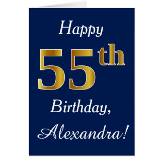 Blue, Faux Gold 55th Birthday + Custom Name Card