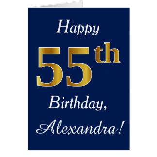 Blue, Faux Gold 55th Birthday + Custom Name Card