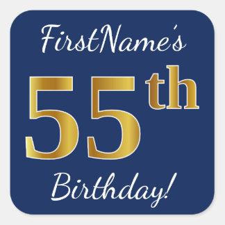 Blue, Faux Gold 55th Birthday + Custom Name Square Sticker