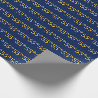 Blue, Faux Gold 55th (Fifty-Fifth) Event Wrapping Paper