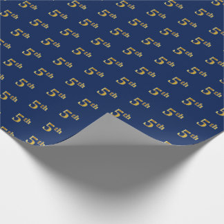 Blue, Faux Gold 5th (Fifth) Event Wrapping Paper
