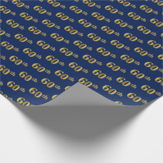Blue, Faux Gold 60th (Sixtieth) Event Wrapping Paper