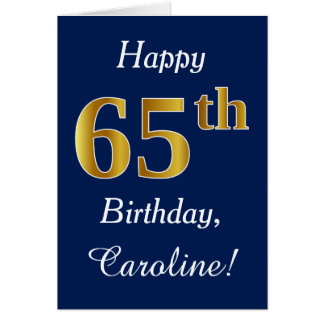 Blue, Faux Gold 65th Birthday + Custom Name Card