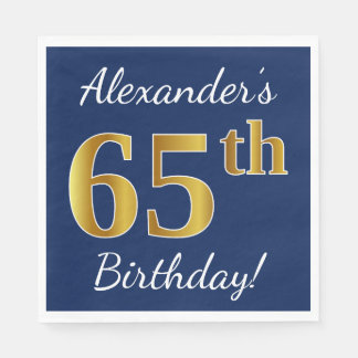 Blue, Faux Gold 65th Birthday + Custom Name Disposable Serviette