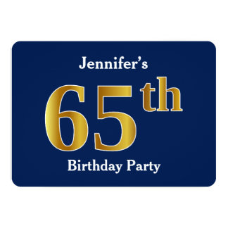 Blue, Faux Gold 65th Birthday Party + Custom Name Card