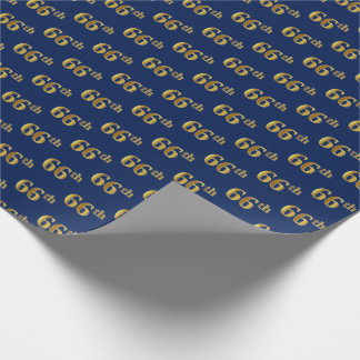 Blue, Faux Gold 66th (Sixty-Sixth) Event Wrapping Paper