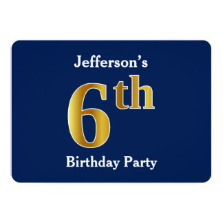 Blue, Faux Gold 6th Birthday Party + Custom Name Card