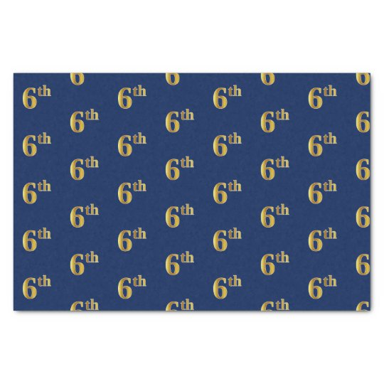 Blue, Faux Gold 6th (Sixth) Event Tissue Paper