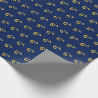 Blue, Faux Gold 6th (Sixth) Event Wrapping Paper
