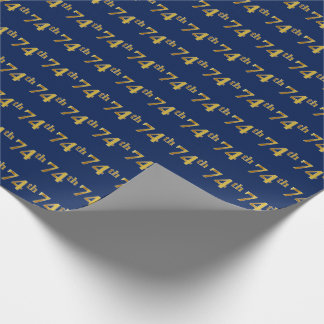 Blue, Faux Gold 74th (Seventy-Fourth) Event Wrapping Paper