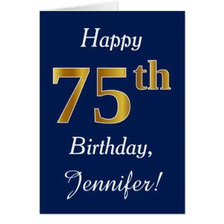 Blue, Faux Gold 75th Birthday + Custom Name Card