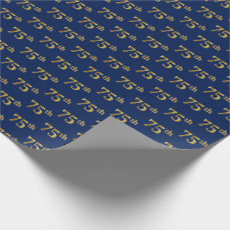 Blue, Faux Gold 75th (Seventy-Fifth) Event Wrapping Paper