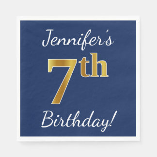 Blue, Faux Gold 7th Birthday + Custom Name Paper Napkins