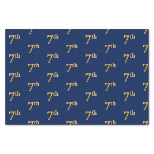 Blue, Faux Gold 7th (Seventh) Event Tissue Paper