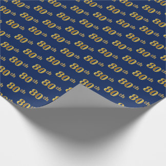Blue, Faux Gold 80th (Eightieth) Event Wrapping Paper