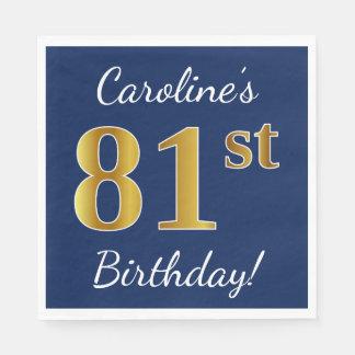 Blue, Faux Gold 81st Birthday + Custom Name Paper Serviettes