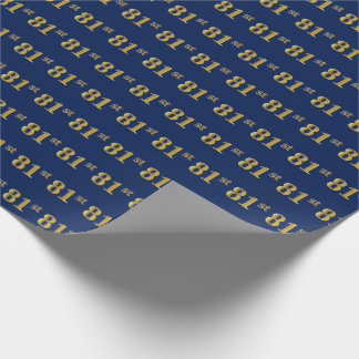 Blue, Faux Gold 81st (Eighty-First) Event Wrapping Paper