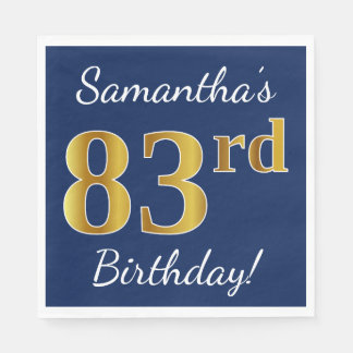 Blue, Faux Gold 83rd Birthday + Custom Name Paper Napkins