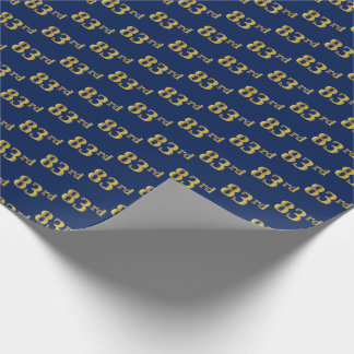 Blue, Faux Gold 83rd (Eighty-Third) Event Wrapping Paper