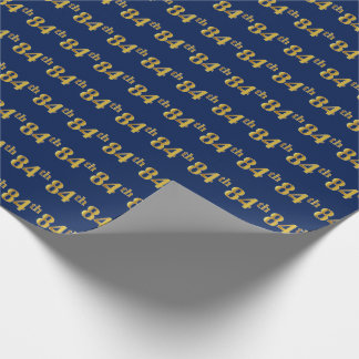 Blue, Faux Gold 84th (Eighty-Fourth) Event Wrapping Paper