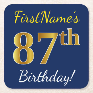 Blue, Faux Gold 87th Birthday + Custom Name Square Paper Coaster