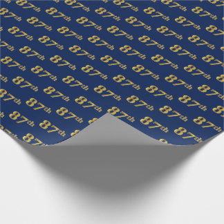 Blue, Faux Gold 87th (Eighty-Seventh) Event Wrapping Paper