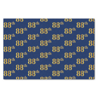 Blue, Faux Gold 88th (Eighty-Eighth) Event Tissue Paper