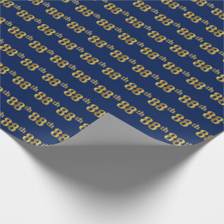 Blue, Faux Gold 88th (Eighty-Eighth) Event Wrapping Paper