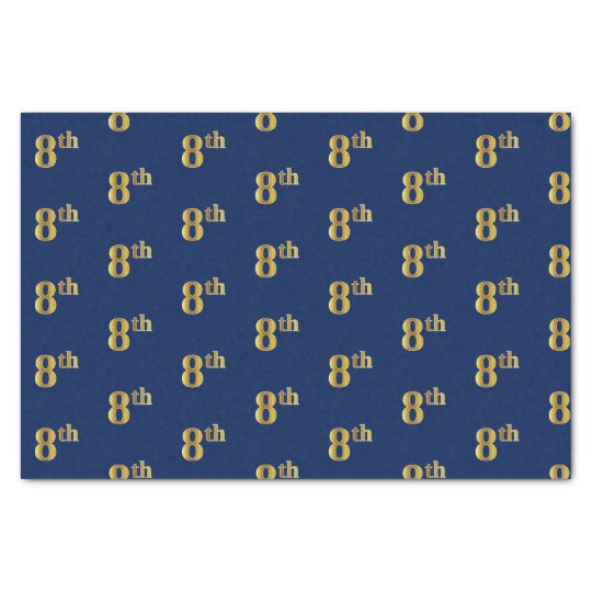 Blue, Faux Gold 8th (Eighth) Event Tissue Paper