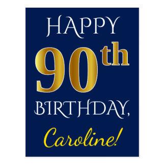 Blue, Faux Gold 90th Birthday + Custom Name Postcard