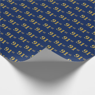 Blue, Faux Gold 91st (Ninety-First) Event Wrapping Paper